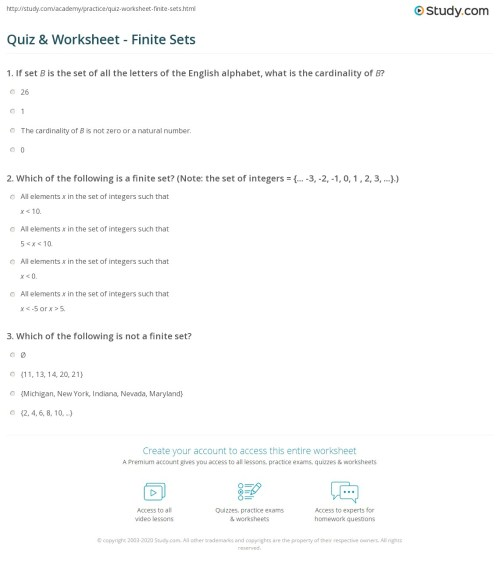 small resolution of Quiz \u0026 Worksheet - Finite Sets   Study.com