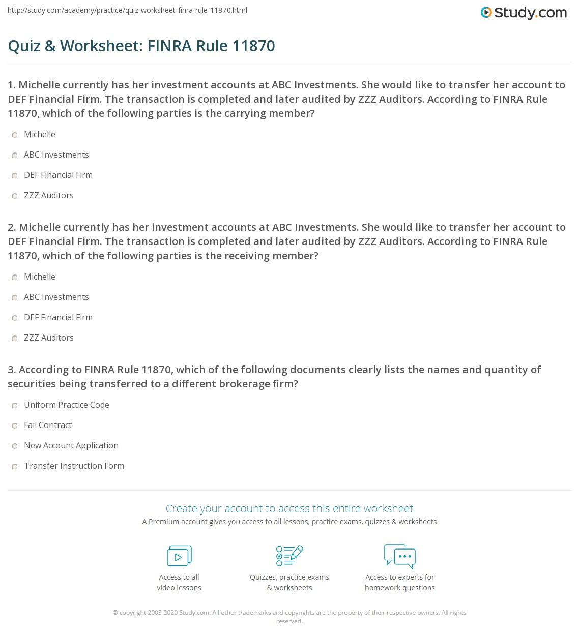 Quiz Amp Worksheet Finra Rule