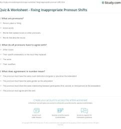 Quiz \u0026 Worksheet - Fixing Inappropriate Pronoun Shifts   Study.com [ 1169 x 1140 Pixel ]