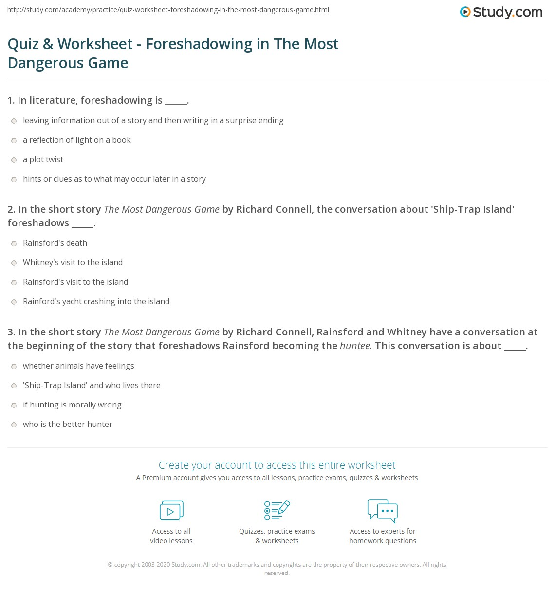 hight resolution of 30 The Most Dangerous Game Comprehension Worksheet - Worksheet Resource  Plans