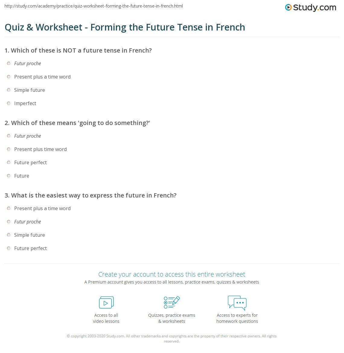 French Future Tense Worksheet