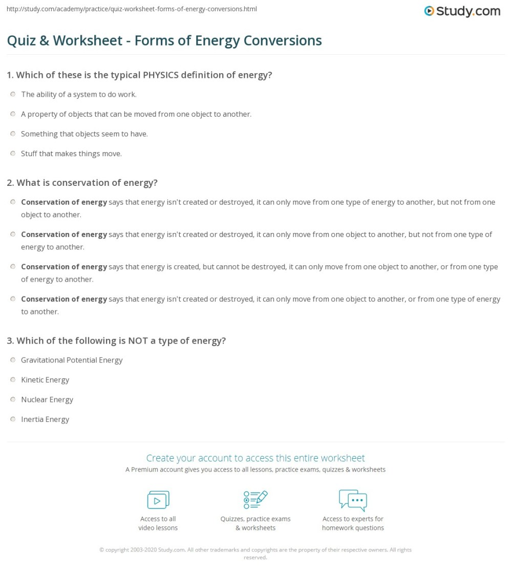 medium resolution of Forms Of Energy Worksheet For 2nd Grade   Printable Worksheets and  Activities for Teachers
