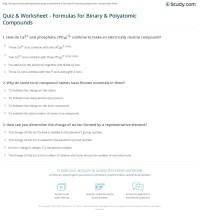 Quiz & Worksheet - Formulas for Binary & Polyatomic ...