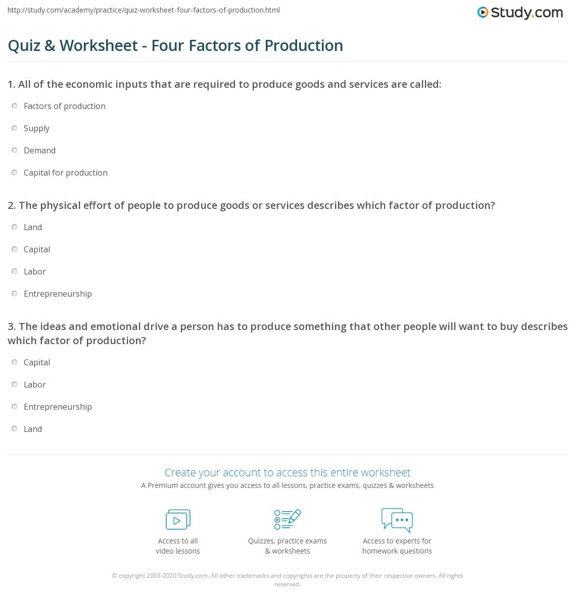 35 Factors Of Production Worksheet Answers
