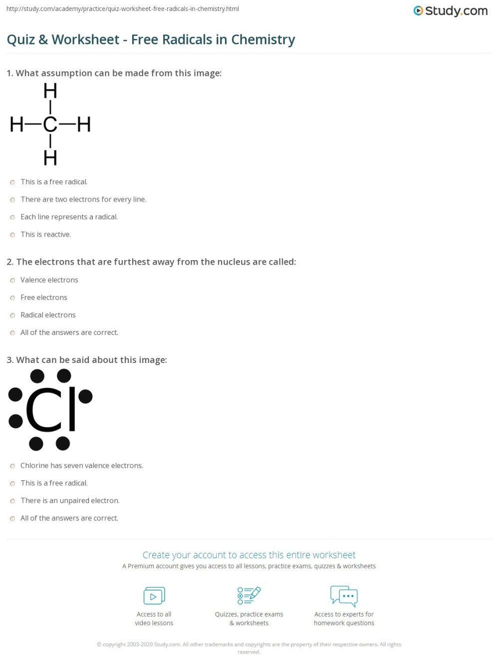 medium resolution of Quiz \u0026 Worksheet - Free Radicals in Chemistry   Study.com