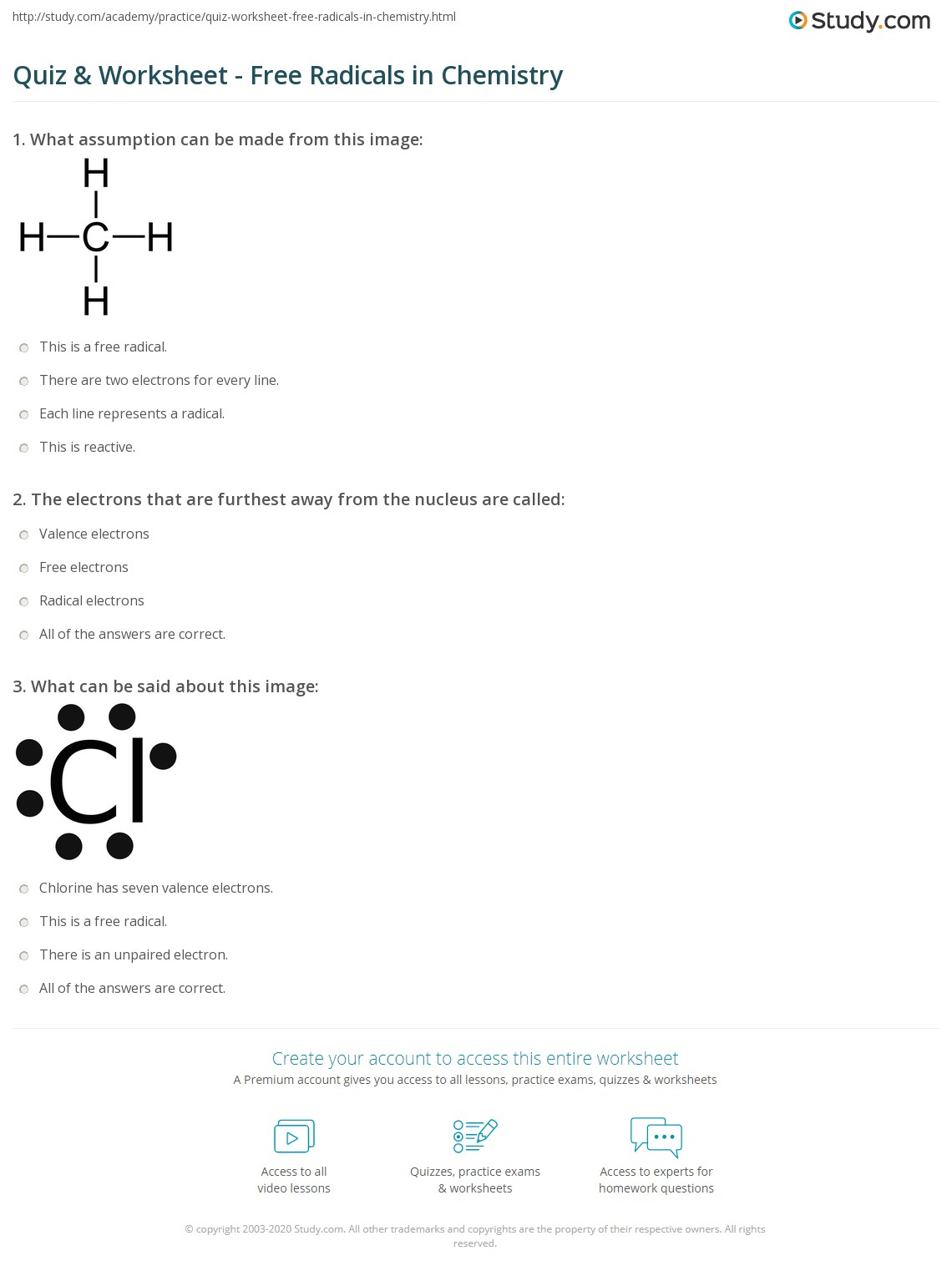 hight resolution of Quiz \u0026 Worksheet - Free Radicals in Chemistry   Study.com