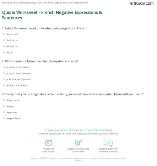 small resolution of Quiz \u0026 Worksheet - French Negative Expressions \u0026 Sentences   Study.com