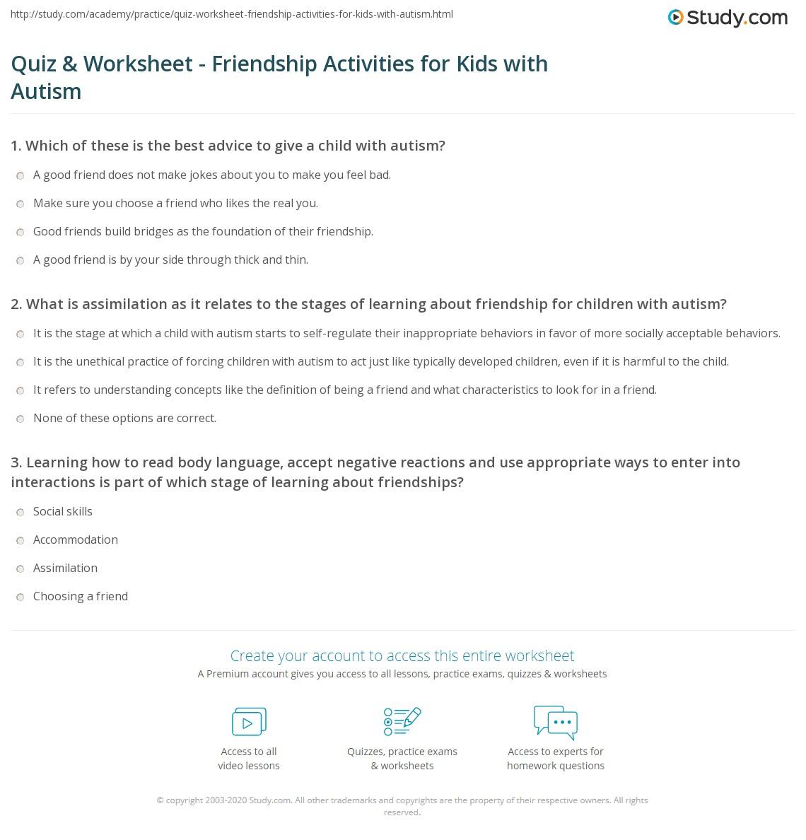 Choosing Good Friends Worksheet