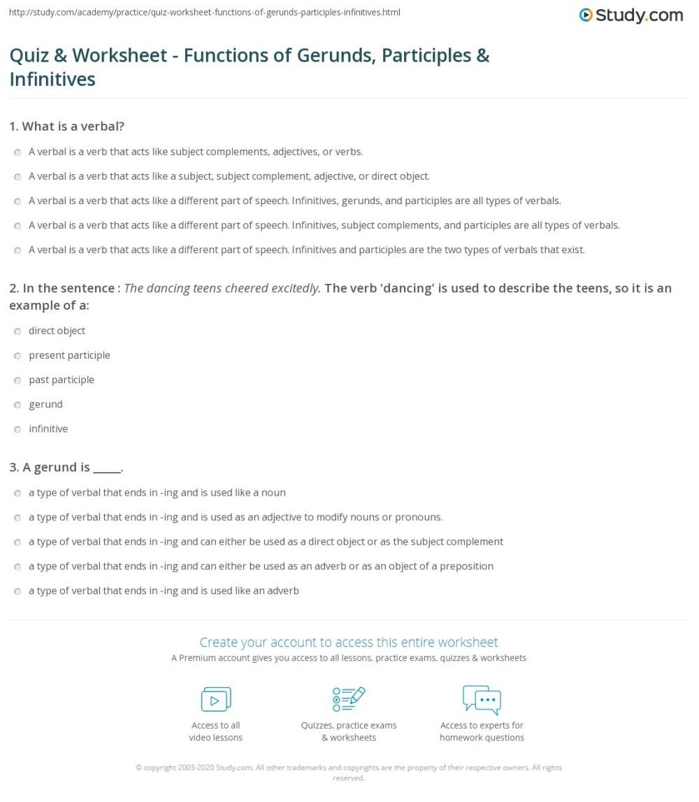 medium resolution of Quiz \u0026 Worksheet - Functions of Gerunds