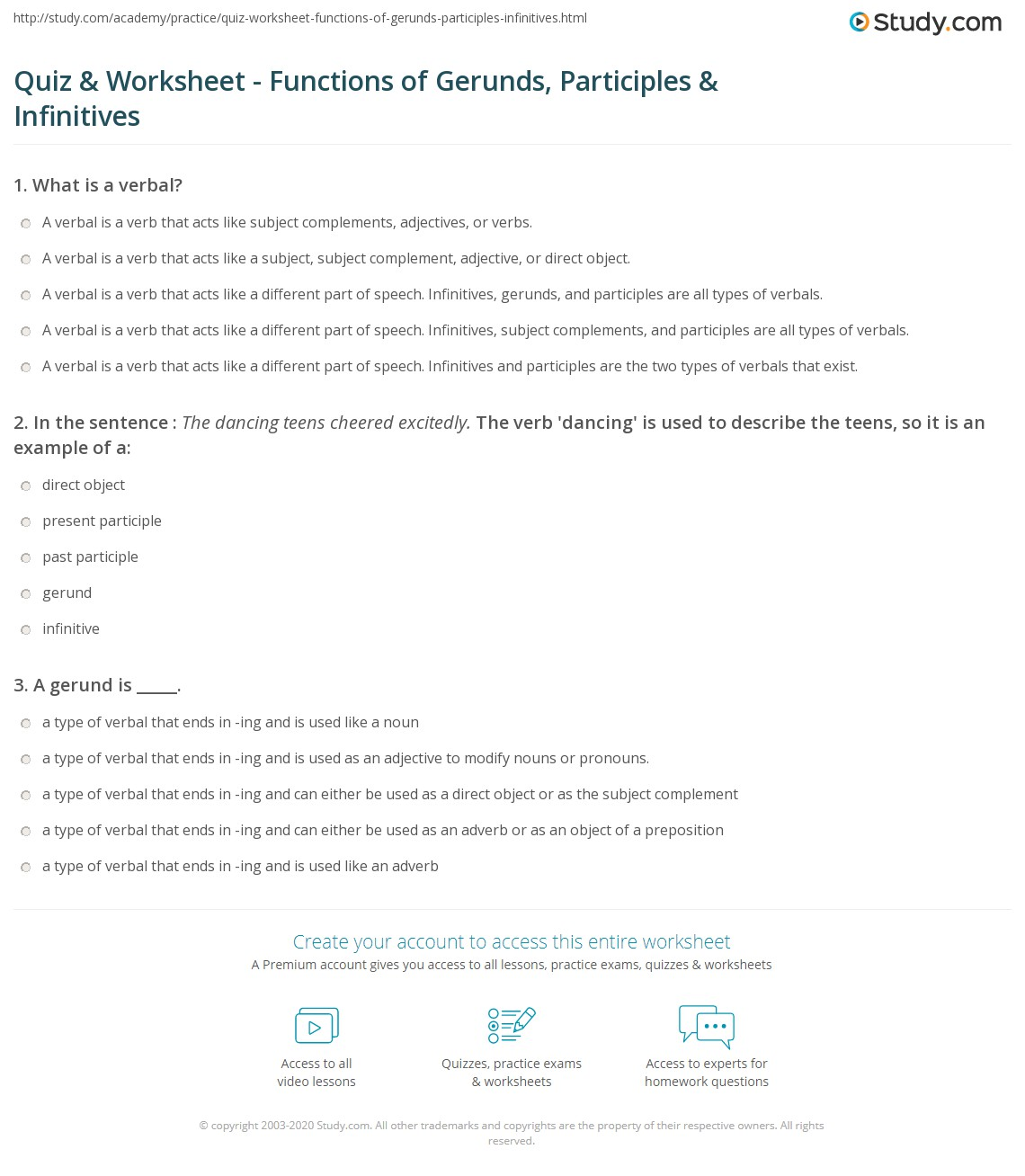 hight resolution of Quiz \u0026 Worksheet - Functions of Gerunds