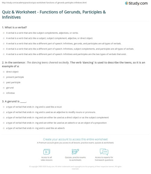 small resolution of Quiz \u0026 Worksheet - Functions of Gerunds