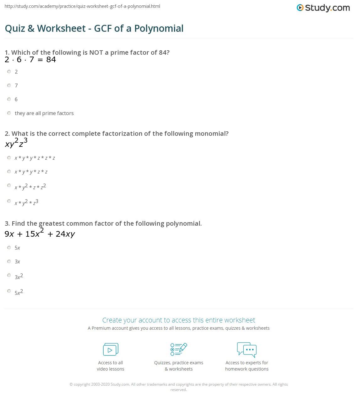 hight resolution of Quiz \u0026 Worksheet - GCF of a Polynomial   Study.com