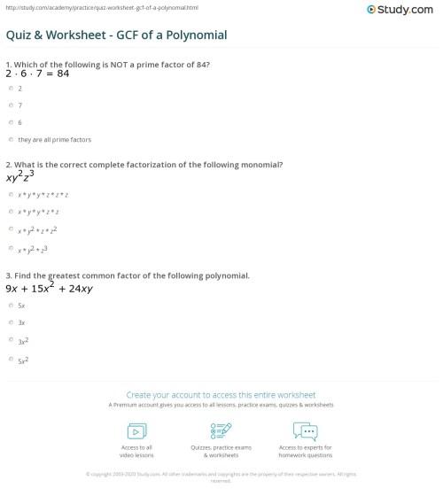 small resolution of Quiz \u0026 Worksheet - GCF of a Polynomial   Study.com