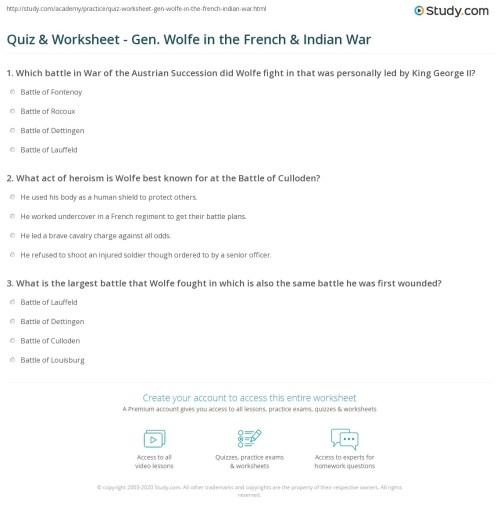 small resolution of French And Indian War Worksheet Answers - Promotiontablecovers