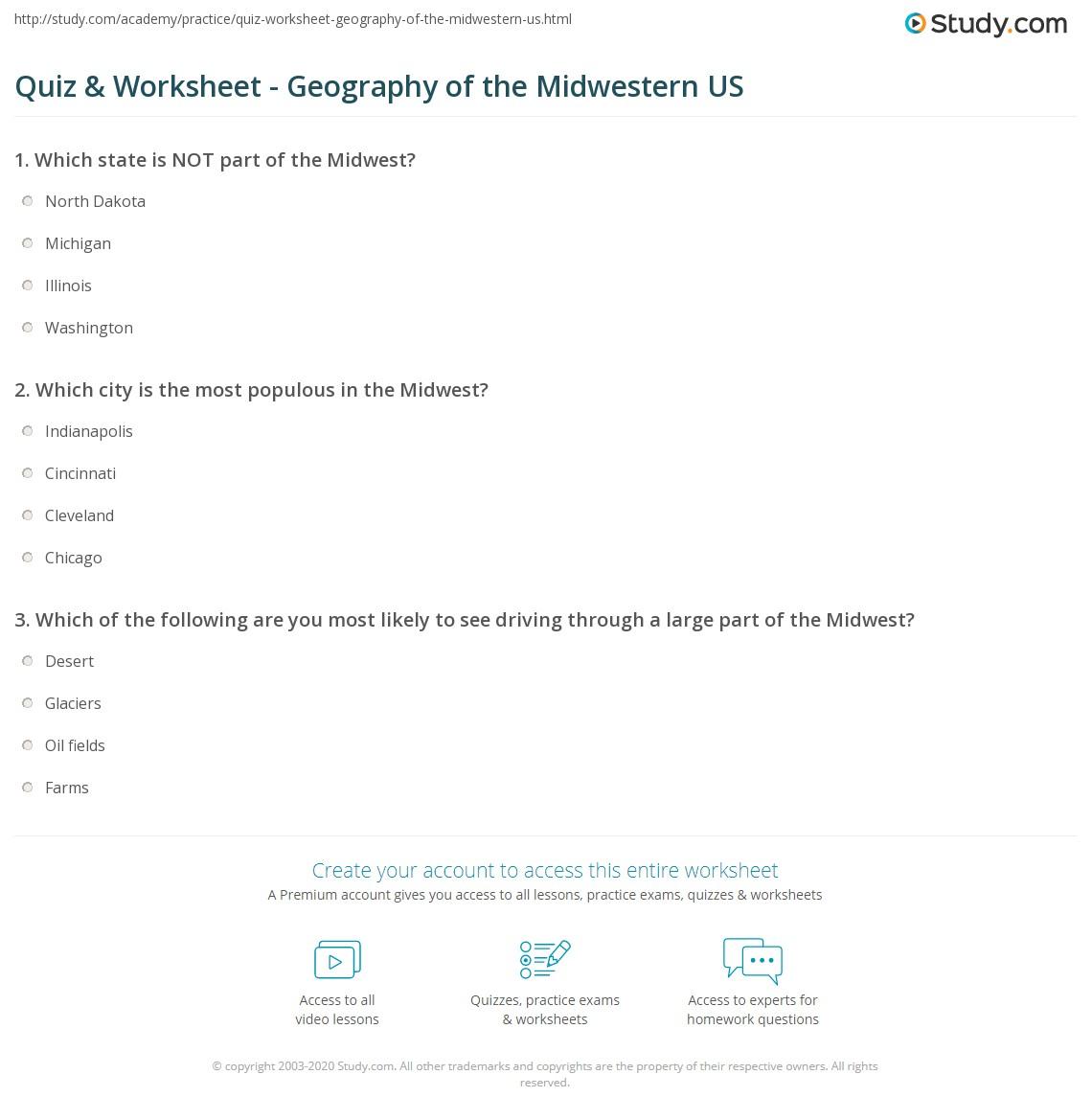 Geography Worksheet Washington State