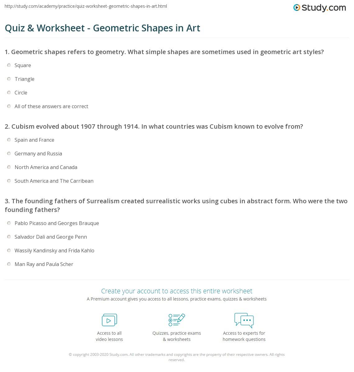 Geometric Shapes Worksheet Anwers