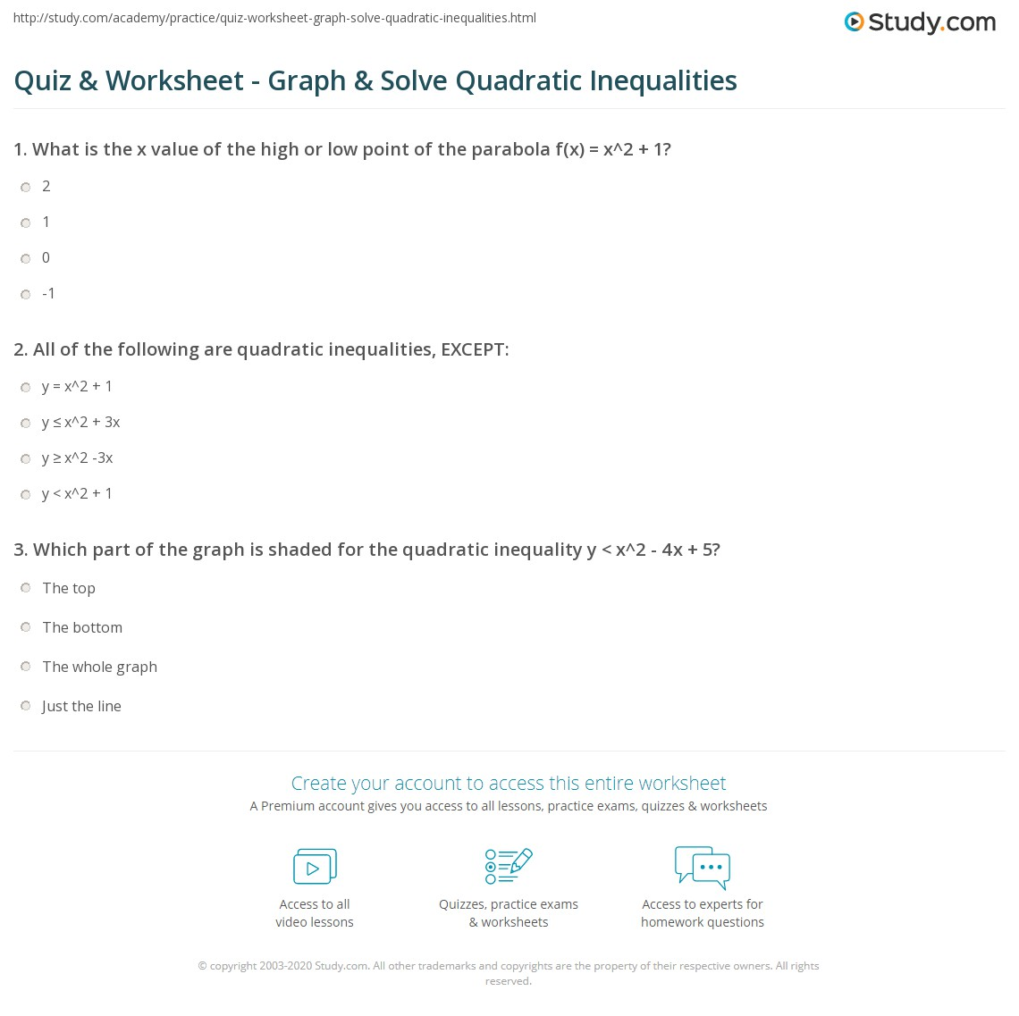 Quadratic Inequalities Word Problems Worksheet With Answers