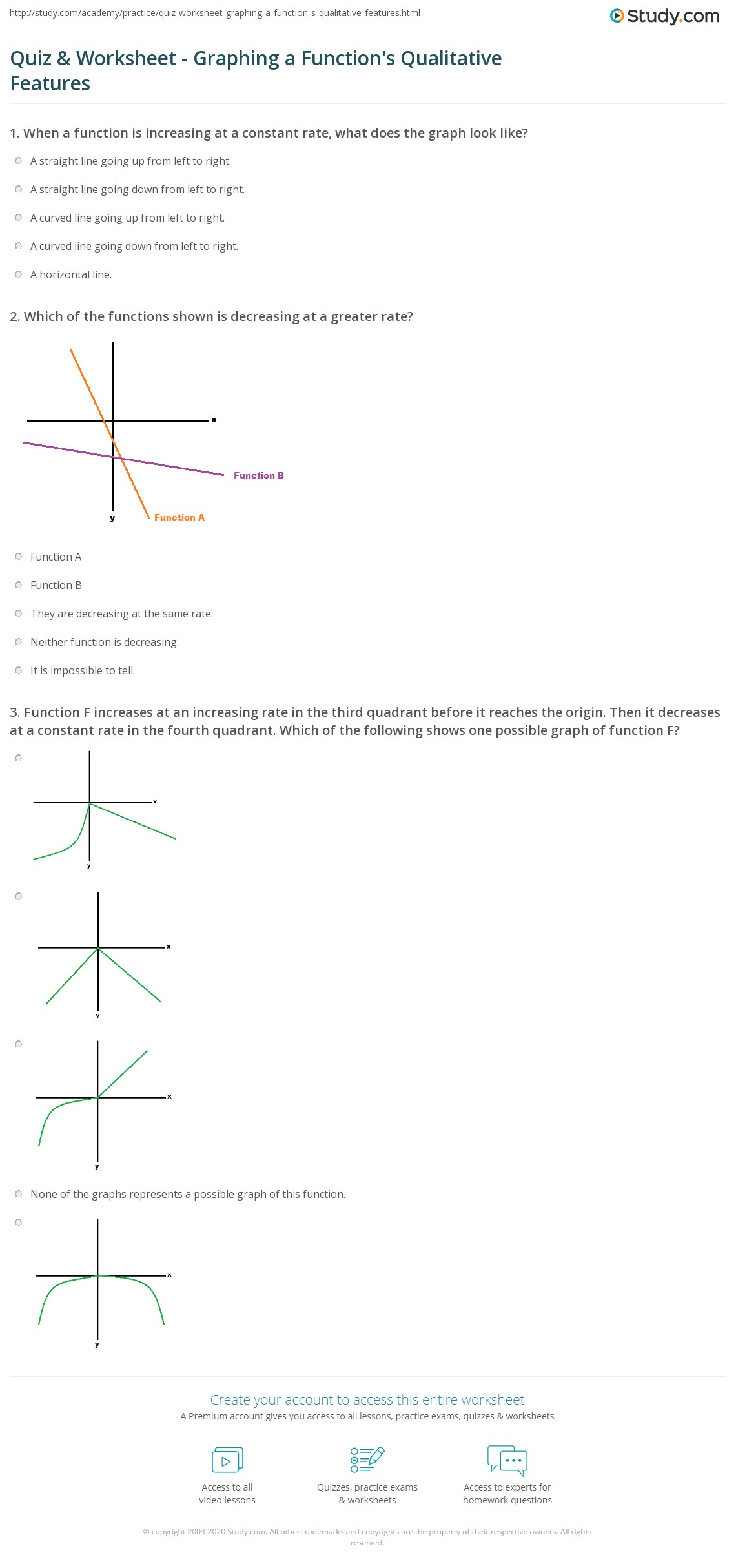hight resolution of Quiz \u0026 Worksheet - Graphing a Function's Qualitative Features   Study.com