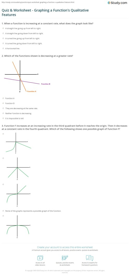 small resolution of Quiz \u0026 Worksheet - Graphing a Function's Qualitative Features   Study.com