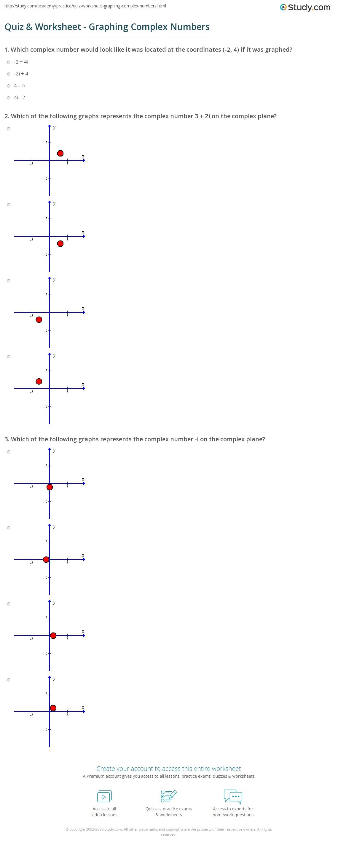 Graphing Plex Numbers Worksheet
