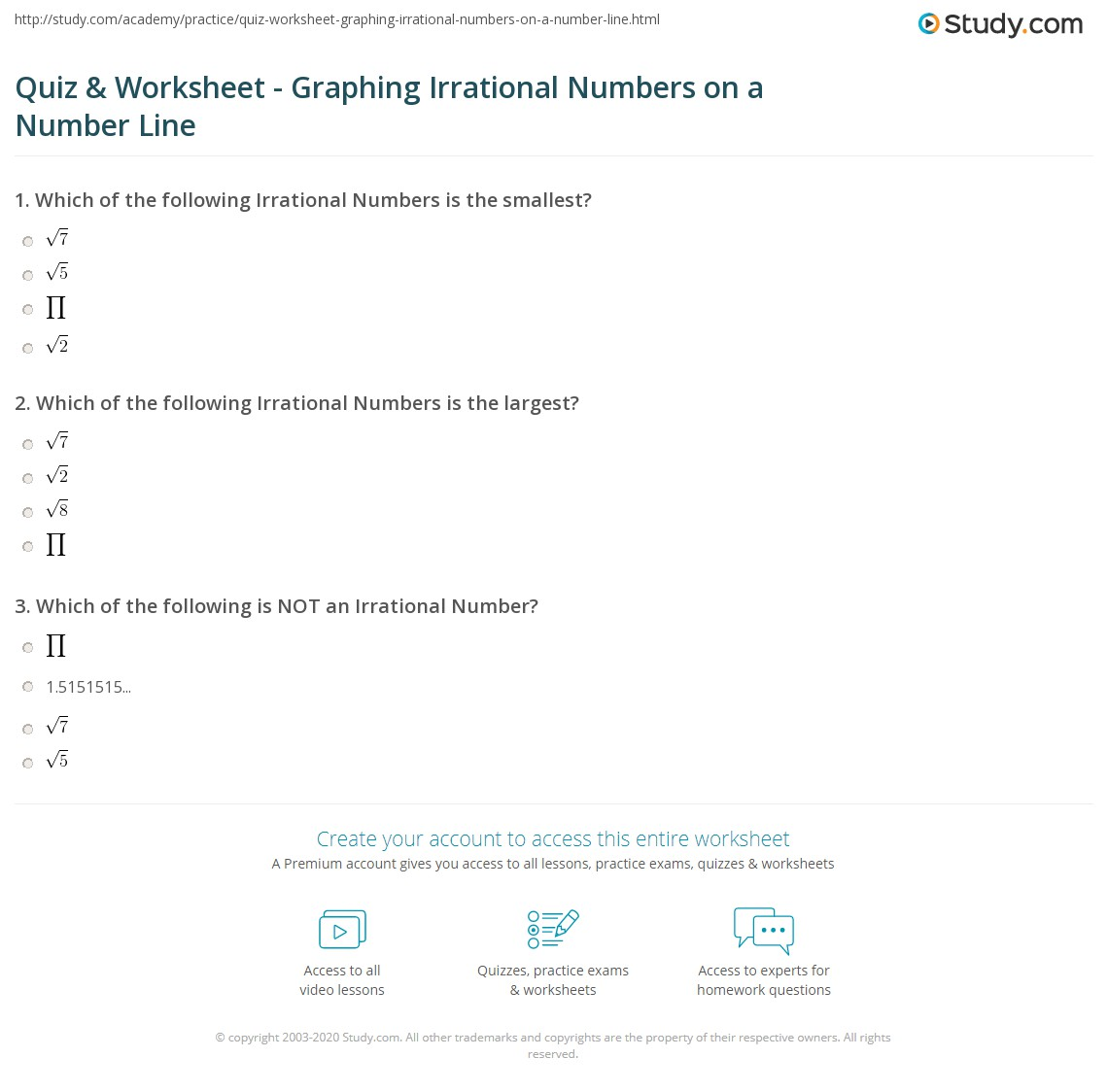 hight resolution of Quiz \u0026 Worksheet - Graphing Irrational Numbers on a Number Line   Study.com