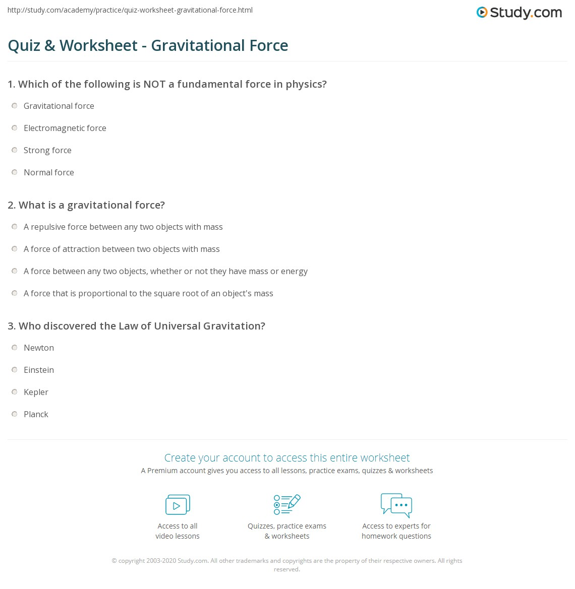 Gravitational Force Worksheet Worksheets Tutsstar