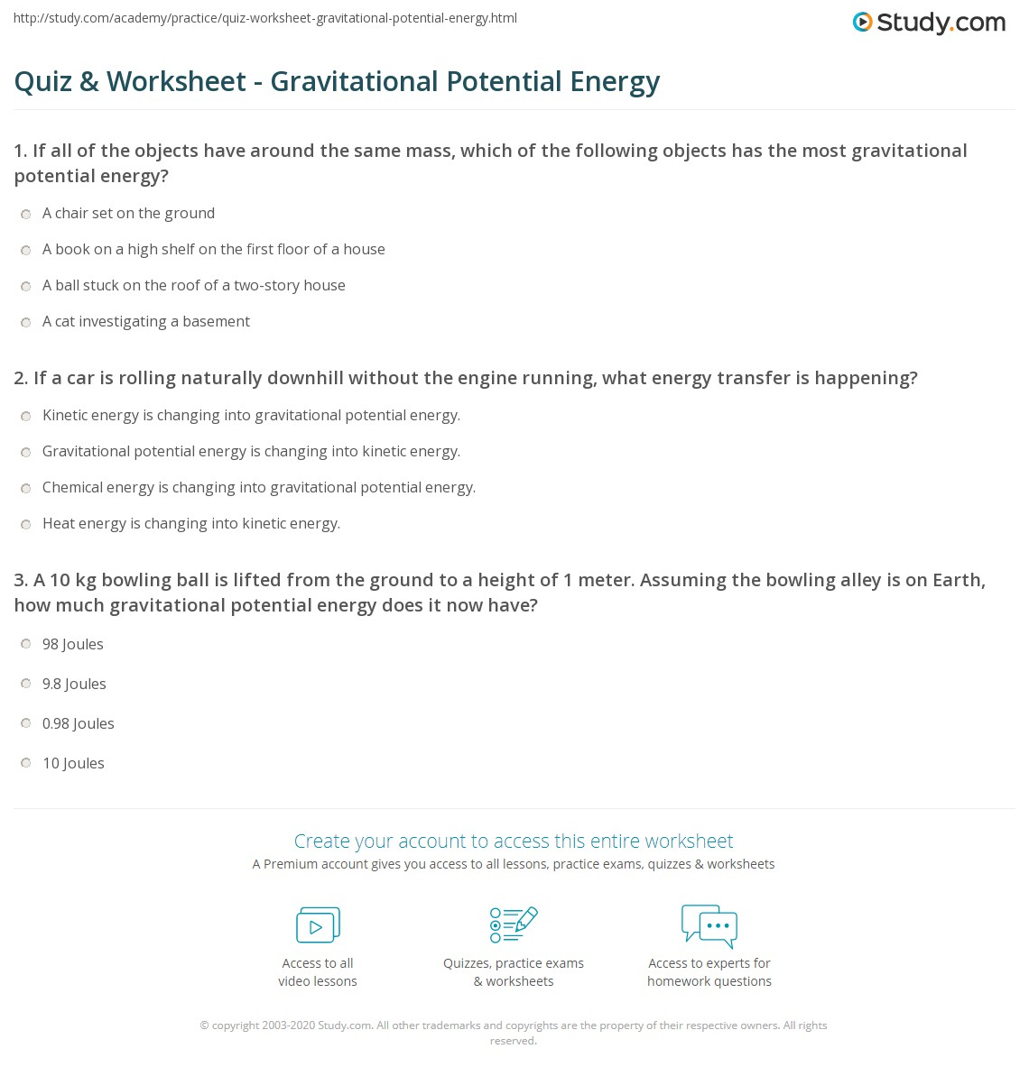 Calculating Kinetic Energy Worksheet Free Worksheets