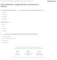 Mendel Worksheet - Bluegreenish