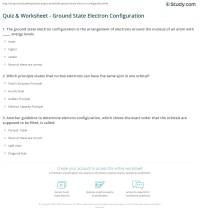 Quiz & Worksheet - Ground State Electron Configuration ...