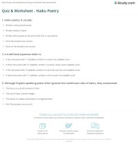 Quiz & Worksheet - Haiku Poetry | Study.com