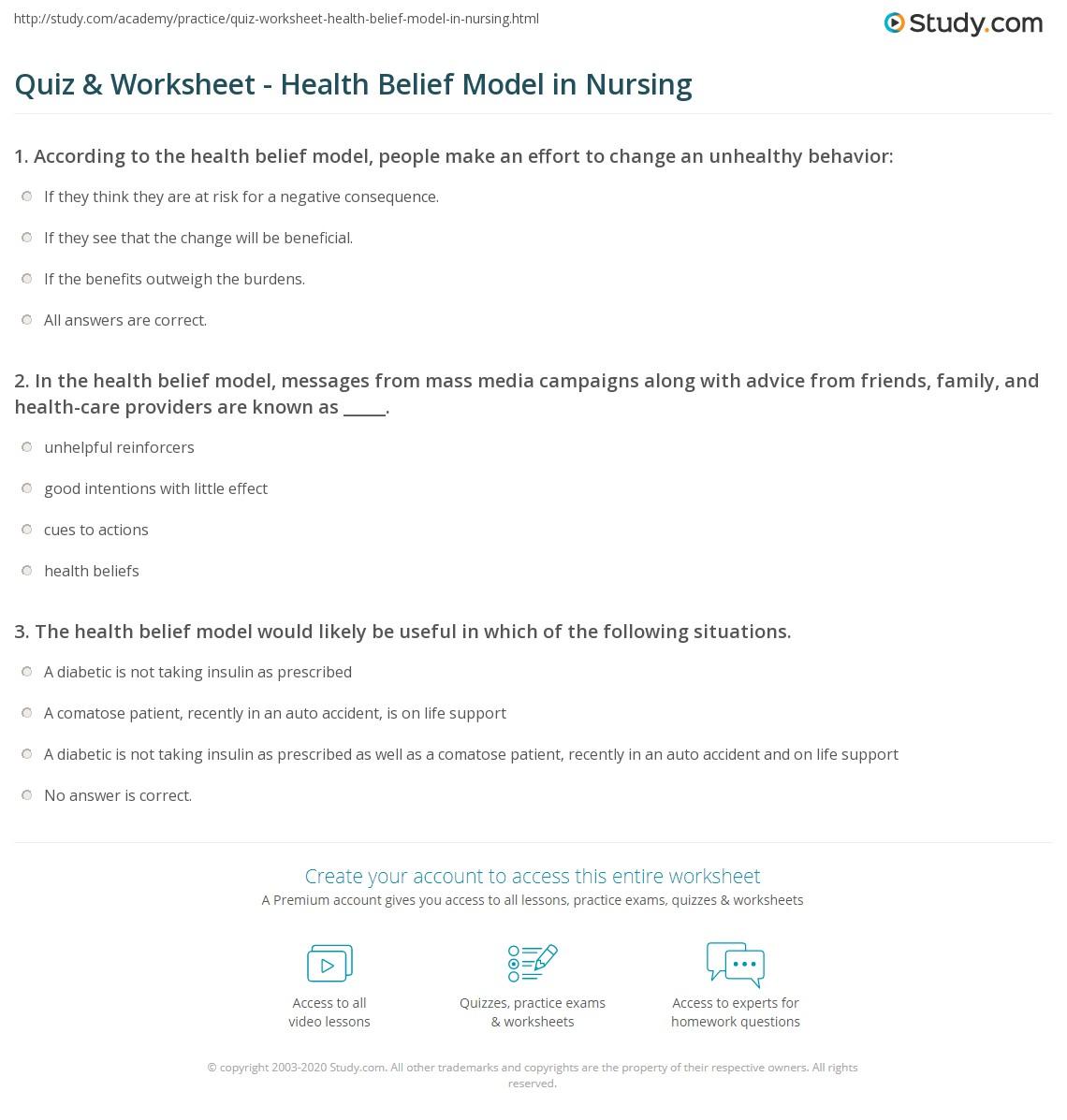Health Belief Model Examples Diabetes