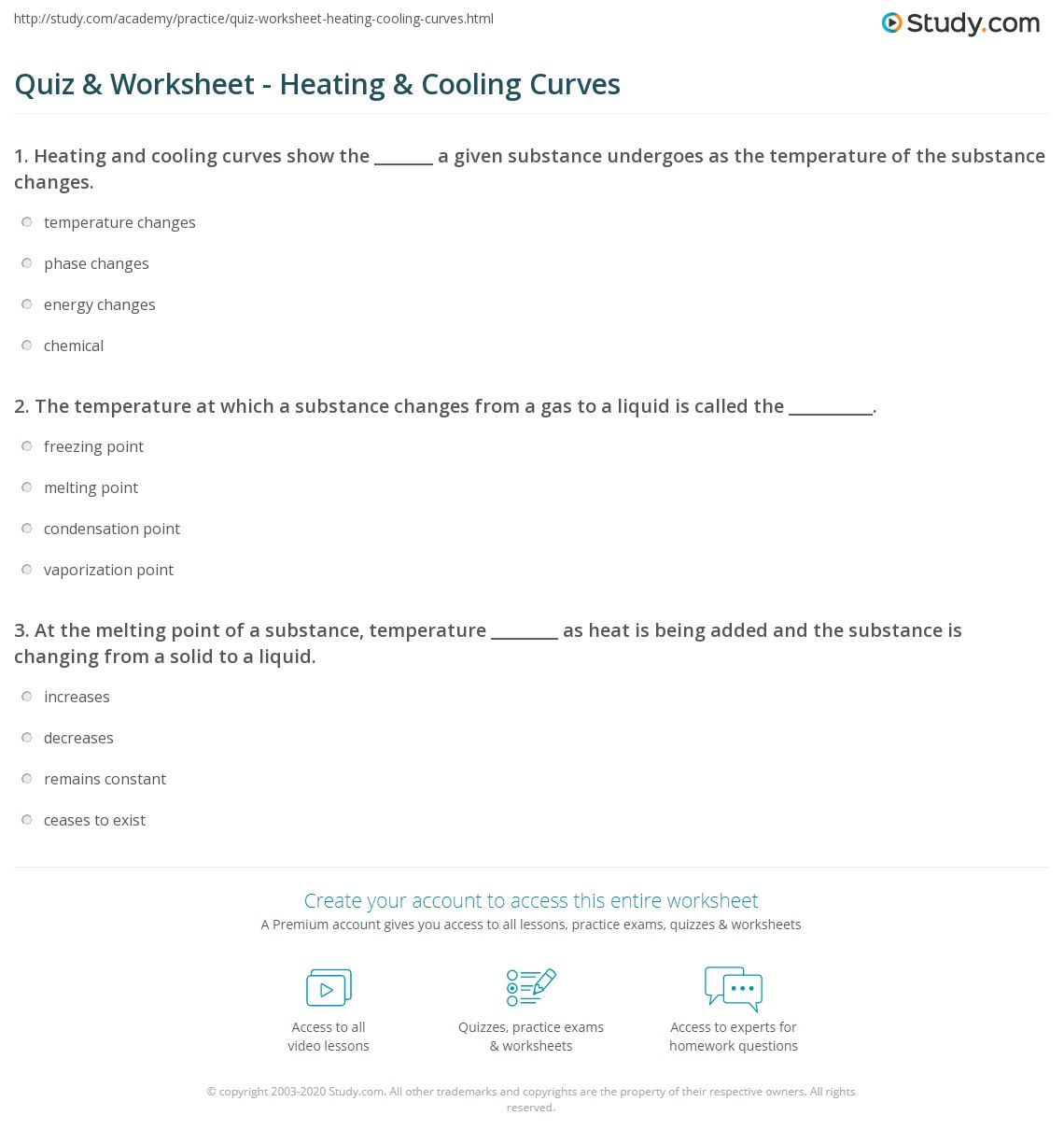 hight resolution of Quiz \u0026 Worksheet - Heating \u0026 Cooling Curves   Study.com