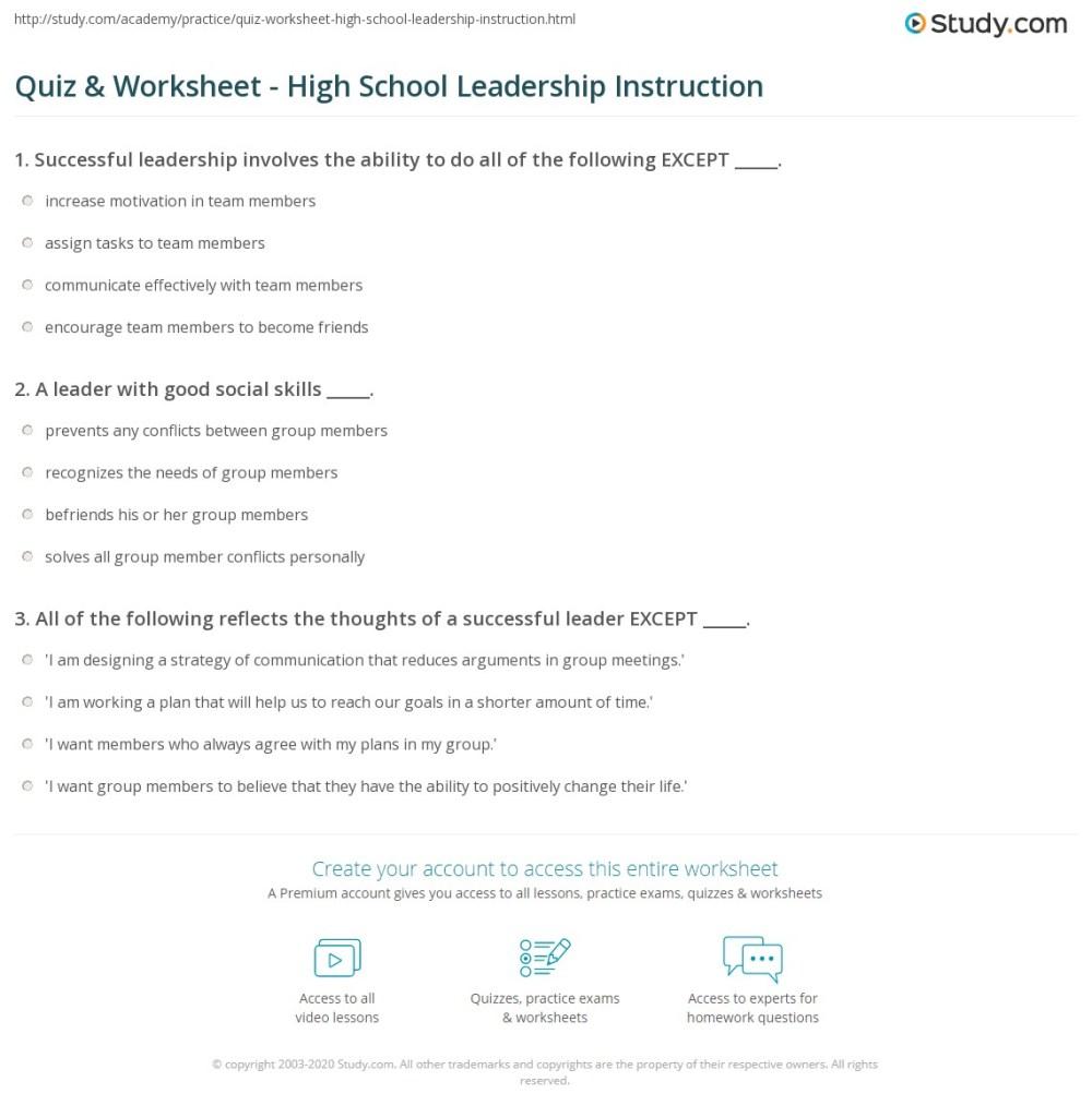 medium resolution of Quiz \u0026 Worksheet - High School Leadership Instruction   Study.com