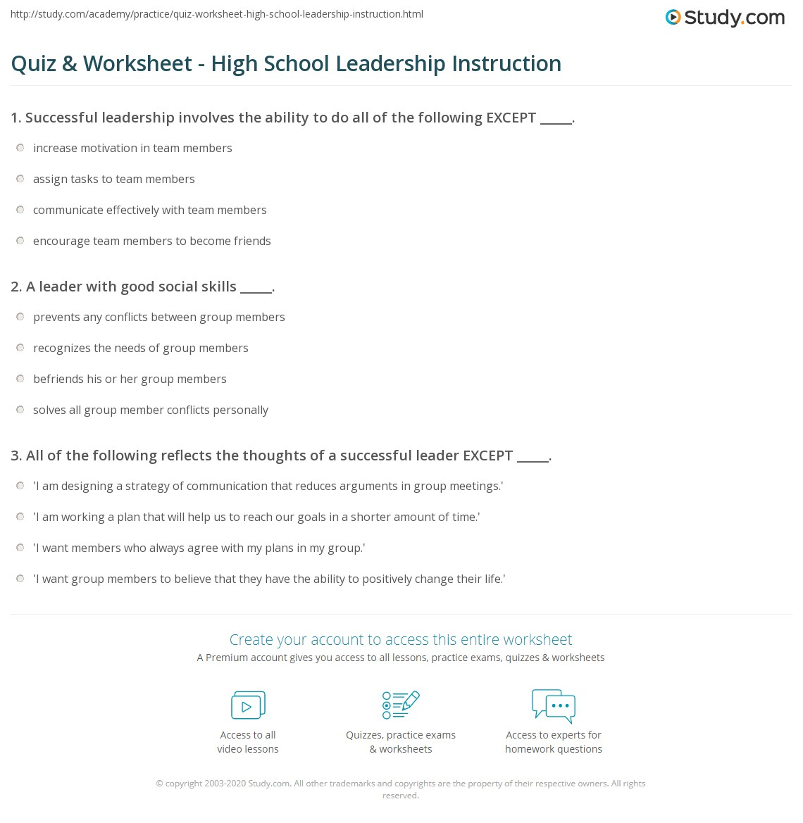 hight resolution of Quiz \u0026 Worksheet - High School Leadership Instruction   Study.com