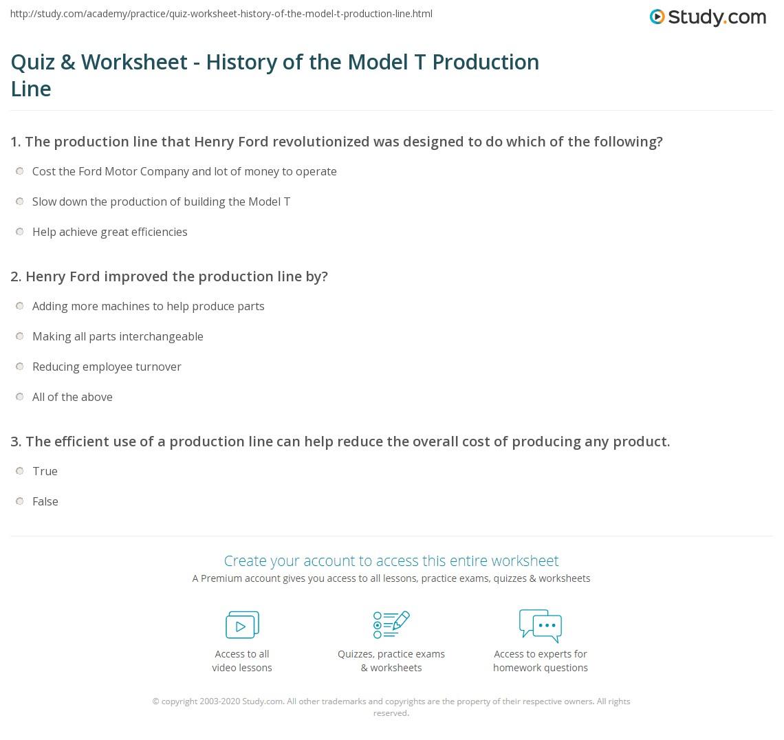 Model T Worksheet