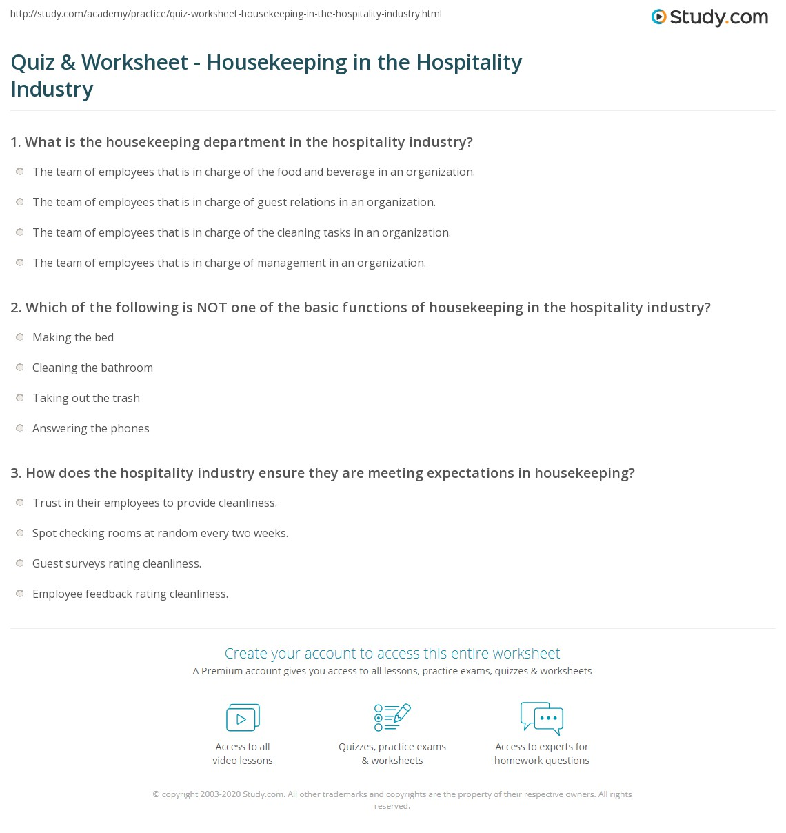 Housekeeping Time Study Worksheet