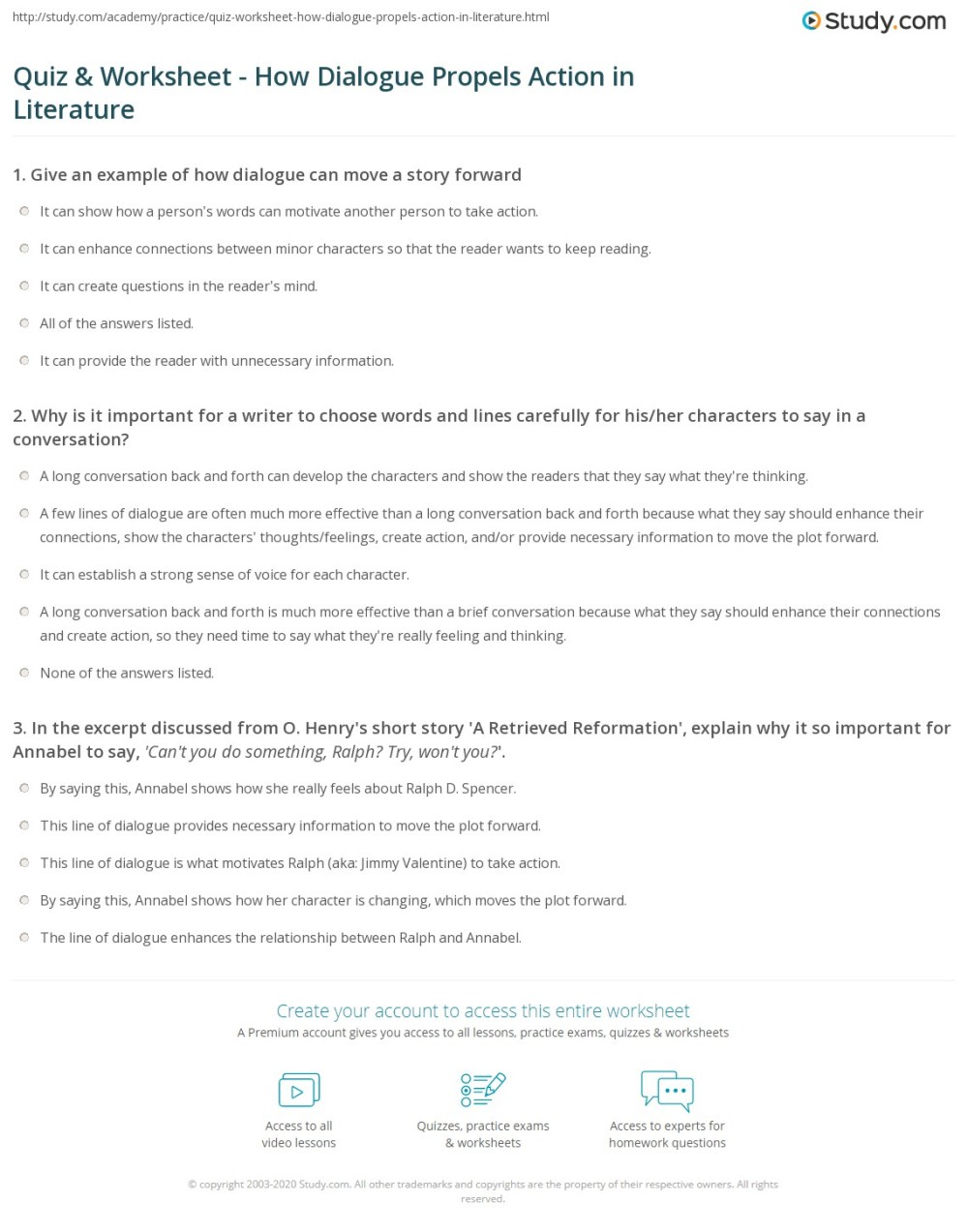 medium resolution of Quiz \u0026 Worksheet - How Dialogue Propels Action in Literature   Study.com