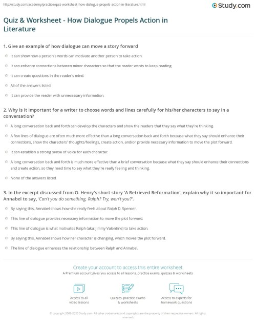 small resolution of Quiz \u0026 Worksheet - How Dialogue Propels Action in Literature   Study.com