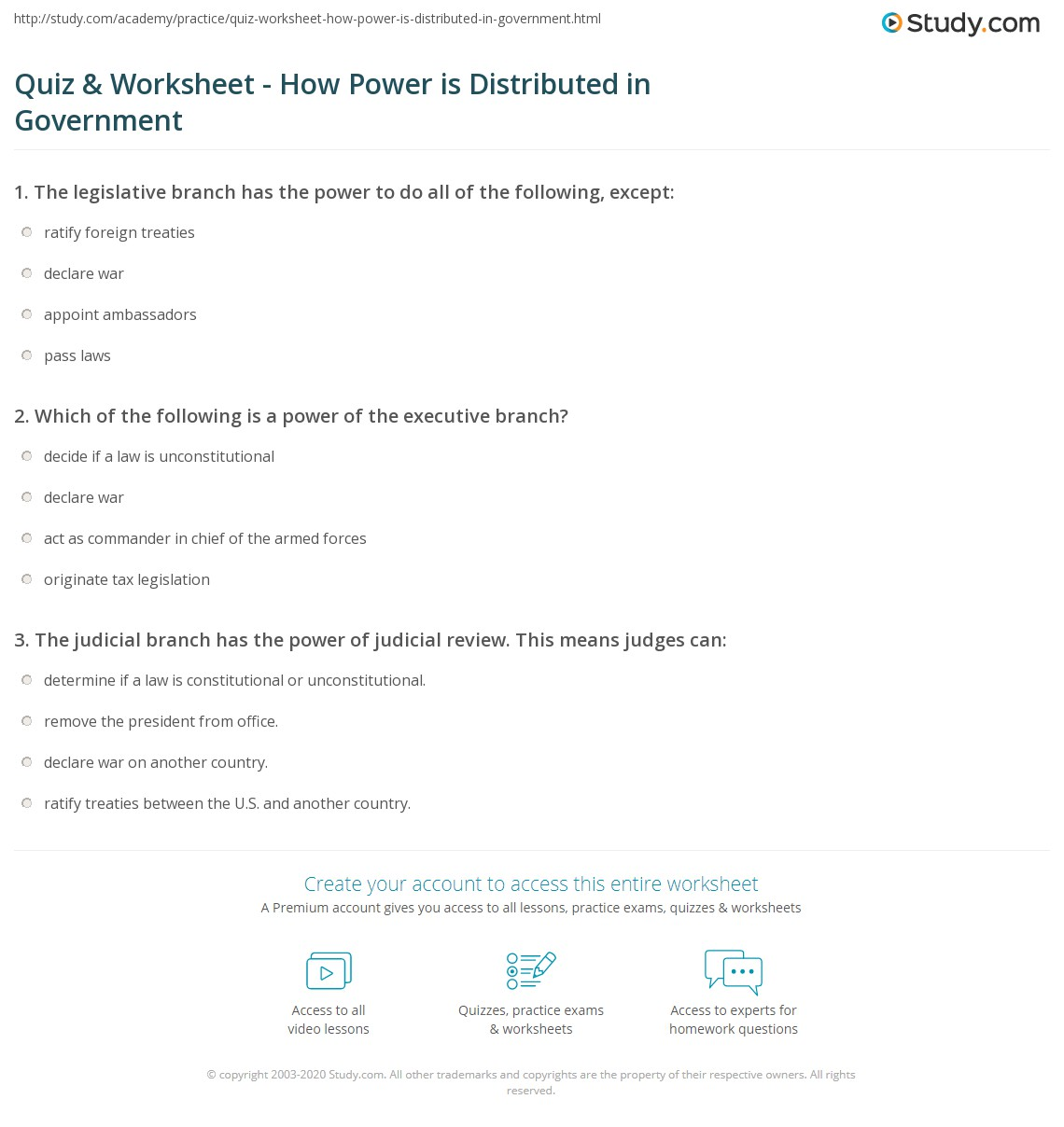 Quiz W Ksheet How Power Is Distri Ed Government Study