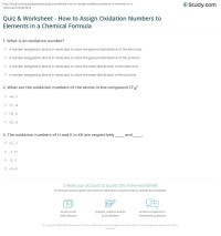Quiz & Worksheet - How to Assign Oxidation Numbers to ...