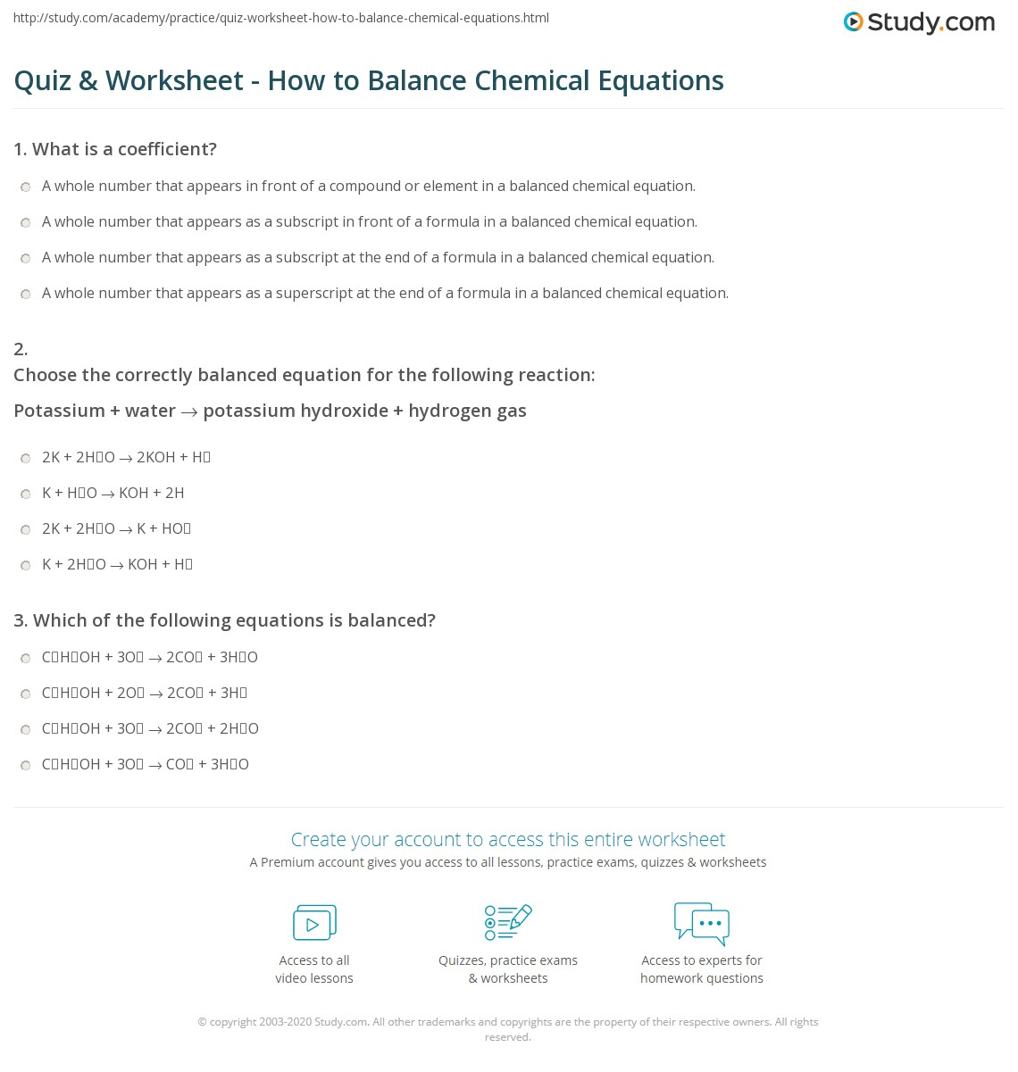 Balance Chemical Equations Questions And Answers