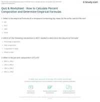Quiz & Worksheet - How to Calculate Percent Composition ...