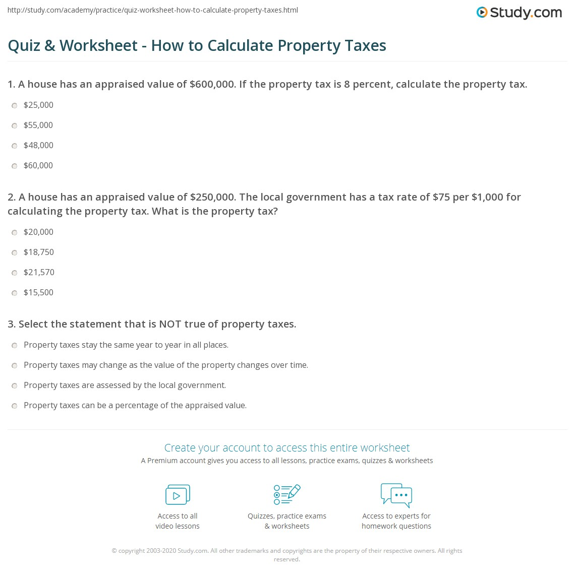 Tax Calculation Worksheet