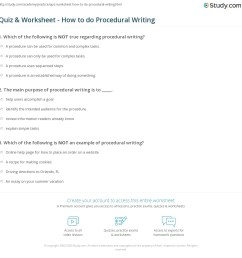 Quiz \u0026 Worksheet - How to do Procedural Writing   Study.com [ 1169 x 1140 Pixel ]