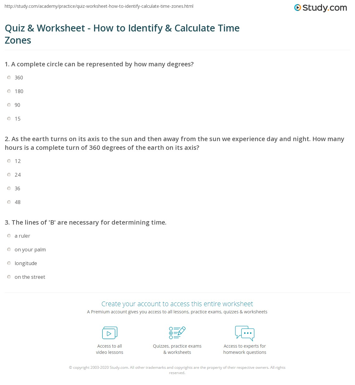 hight resolution of Quiz \u0026 Worksheet - How to Identify \u0026 Calculate Time Zones   Study.com