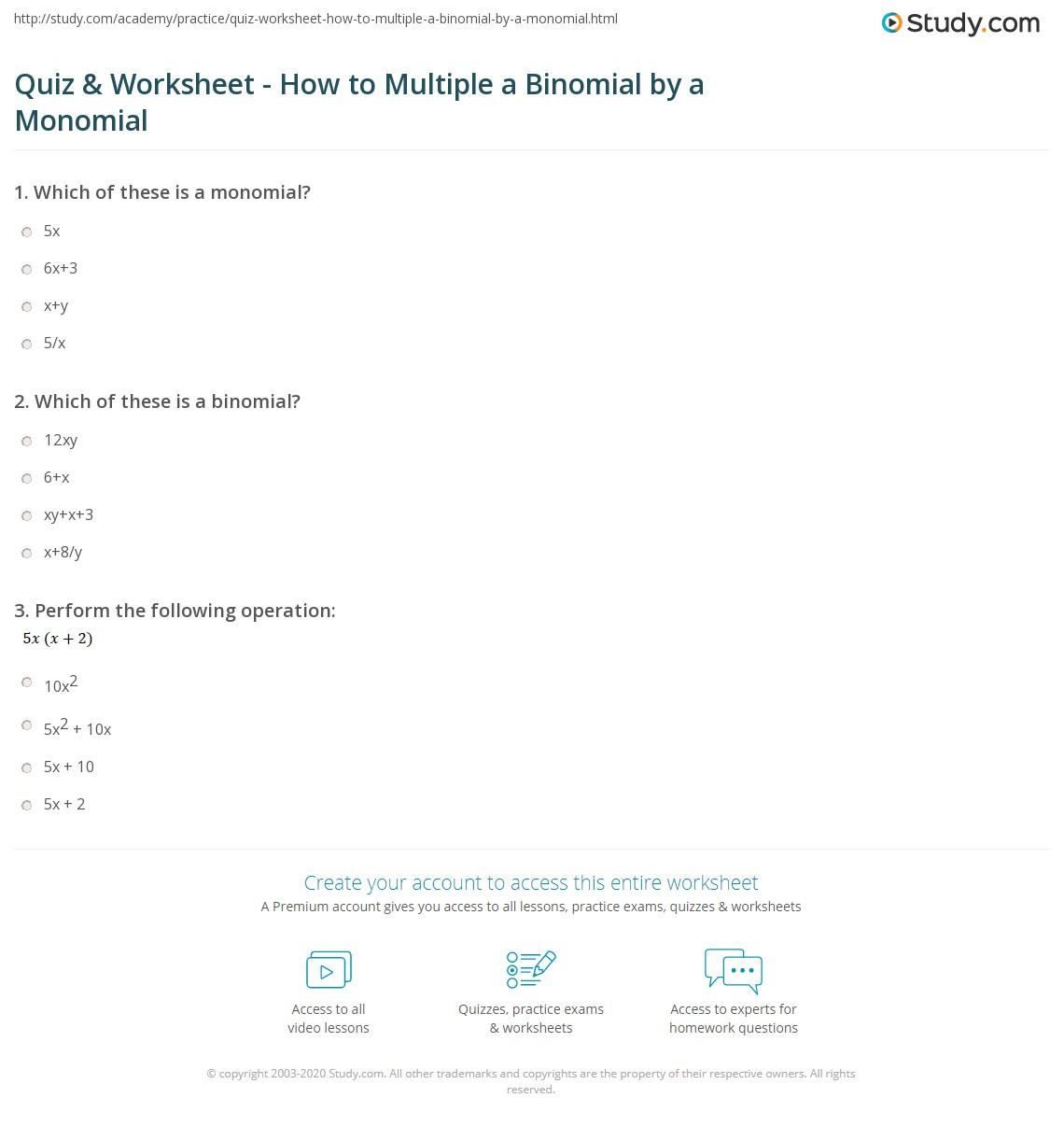 Intro Monomials Worksheet