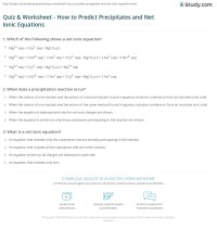Quiz & Worksheet - How to Predict Precipitates and Net ...