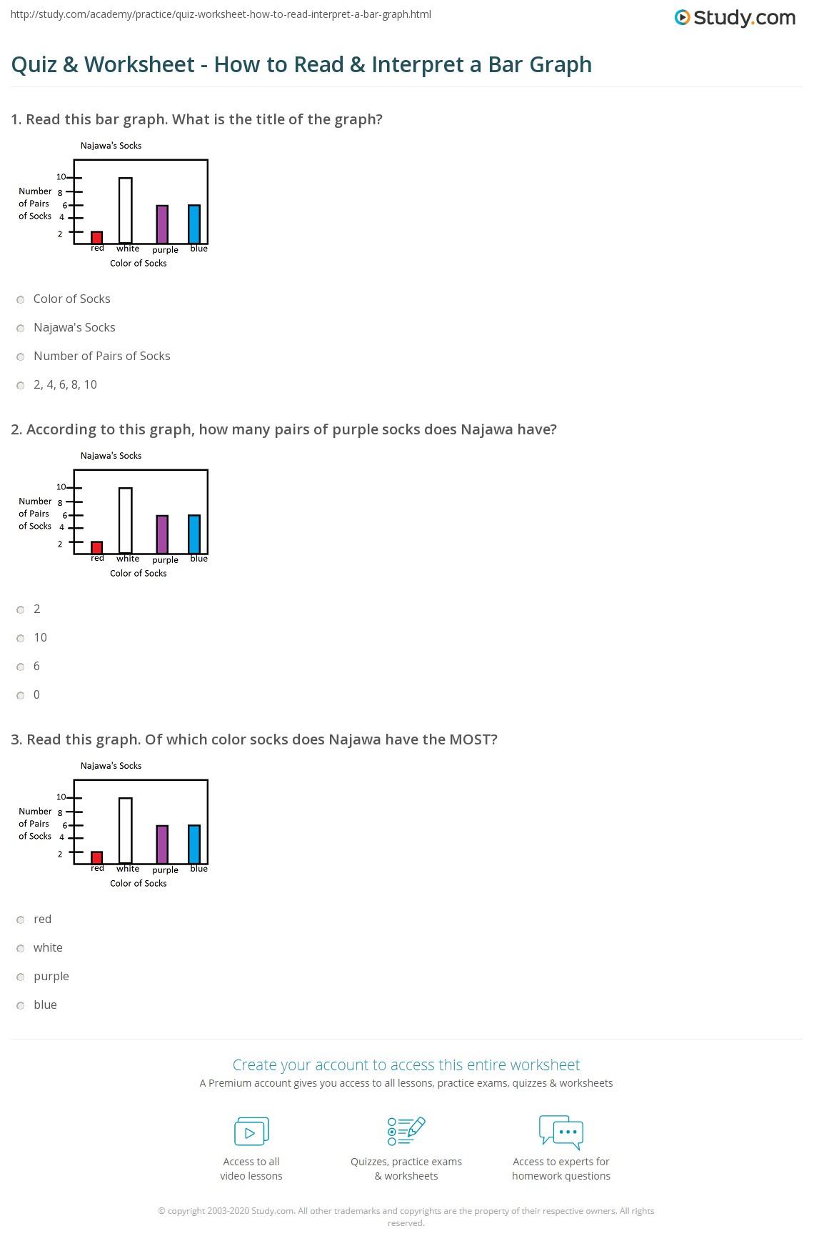 hight resolution of Quiz \u0026 Worksheet - How to Read \u0026 Interpret a Bar Graph   Study.com