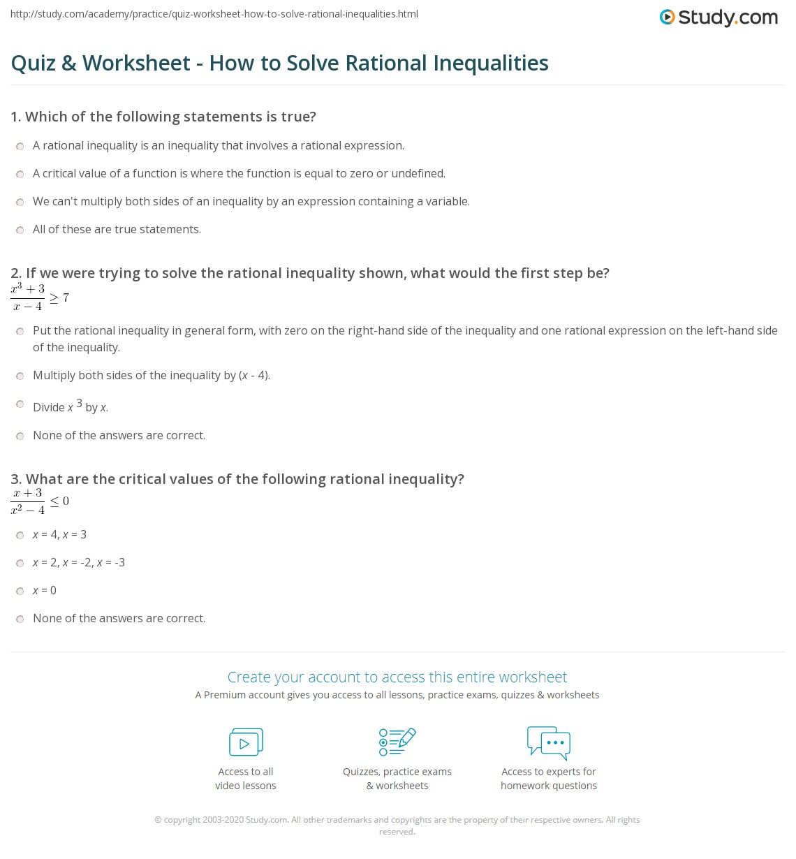 hight resolution of Quiz \u0026 Worksheet - How to Solve Rational Inequalities   Study.com
