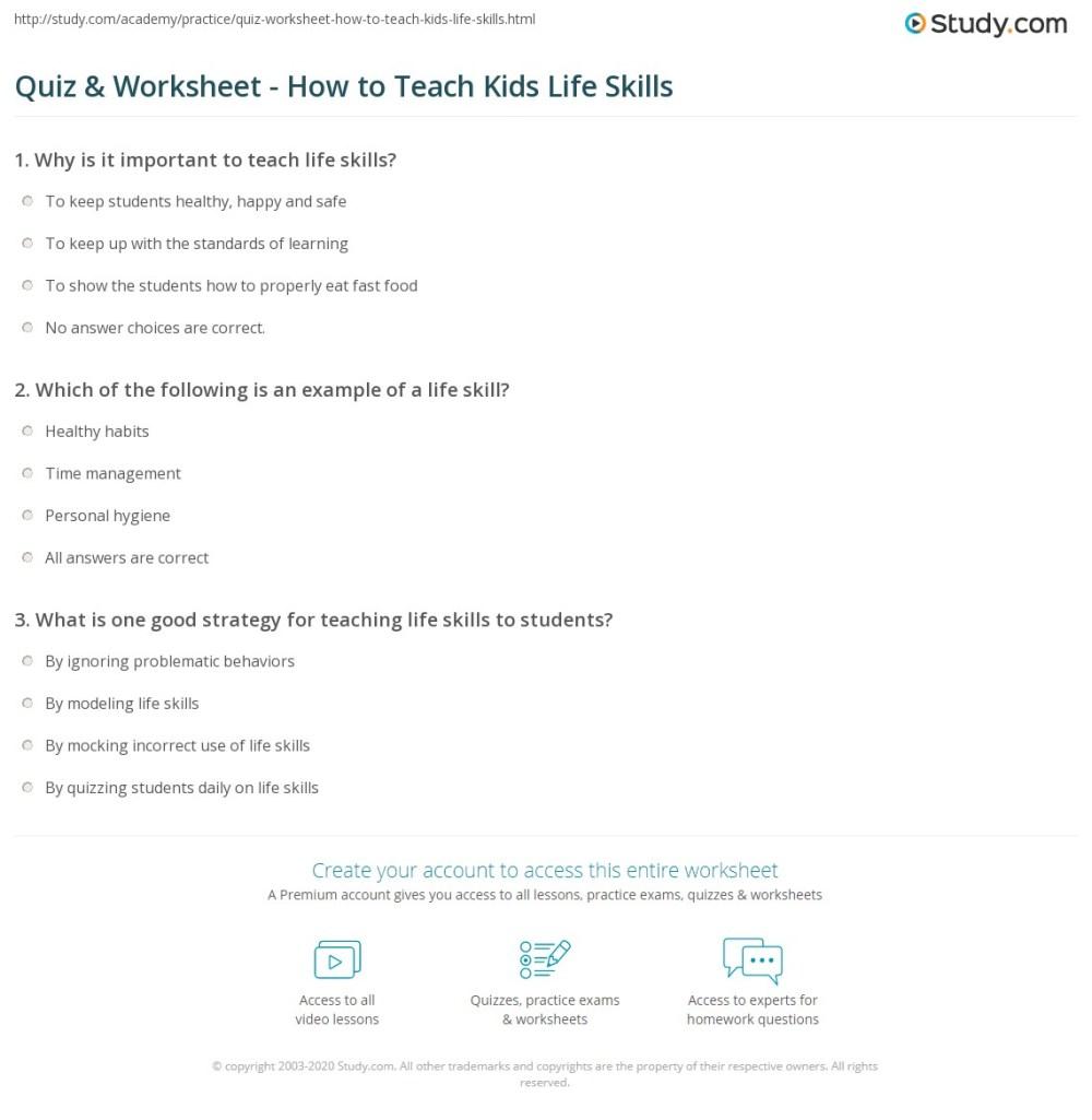 medium resolution of Quiz \u0026 Worksheet - How to Teach Kids Life Skills   Study.com